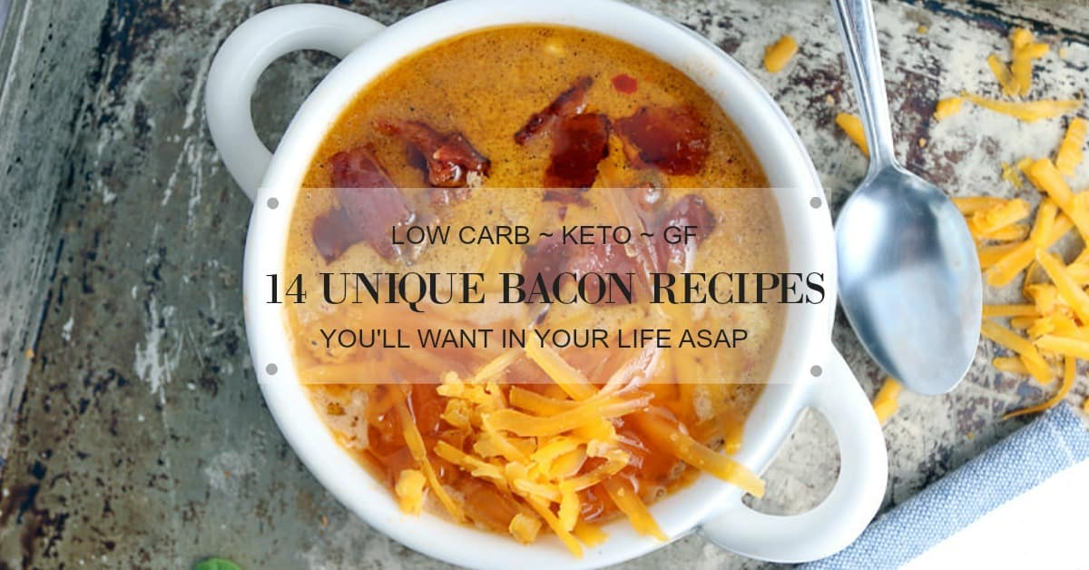 easy low carb bacon recipes cover image with post title