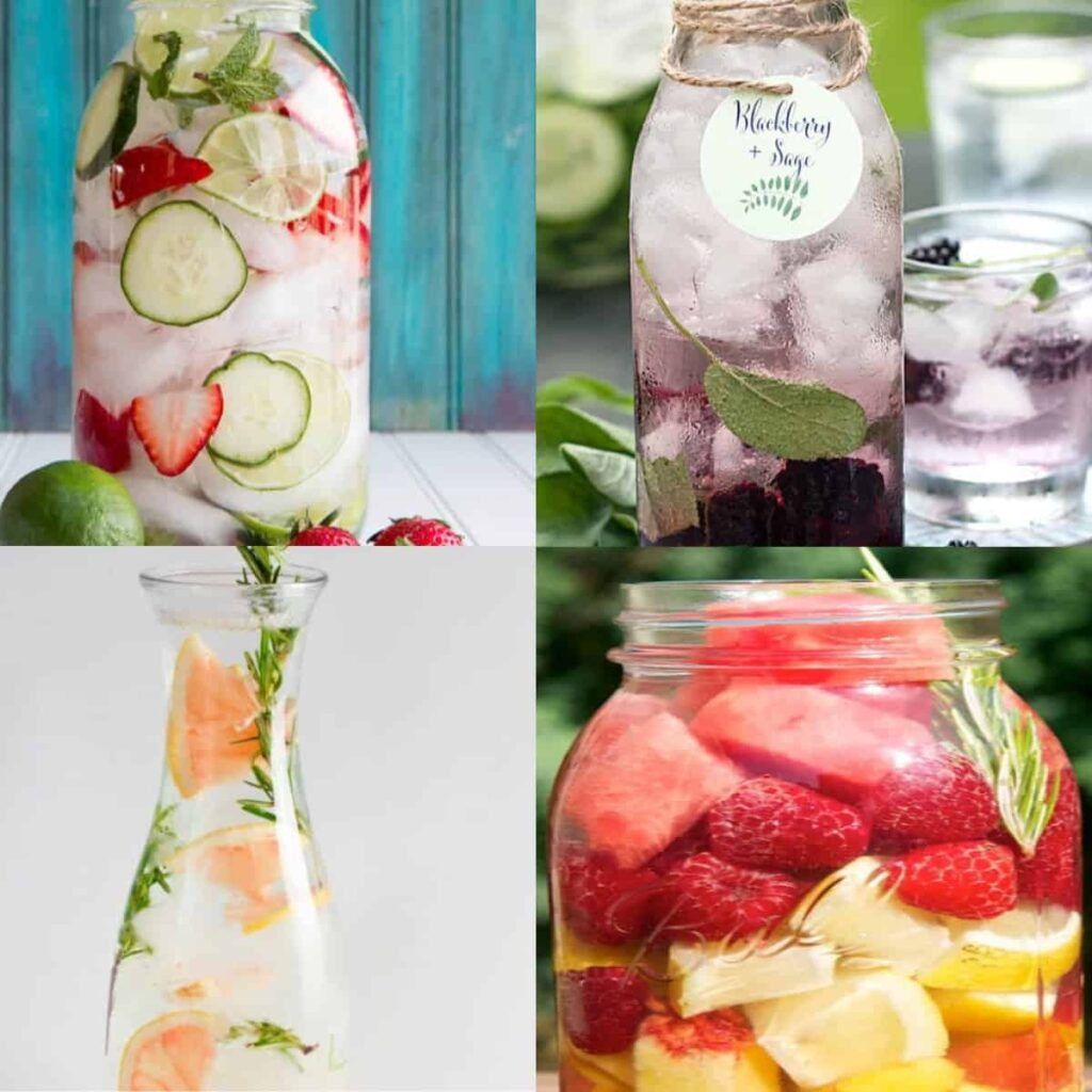 fruit water recipes collage of ideas