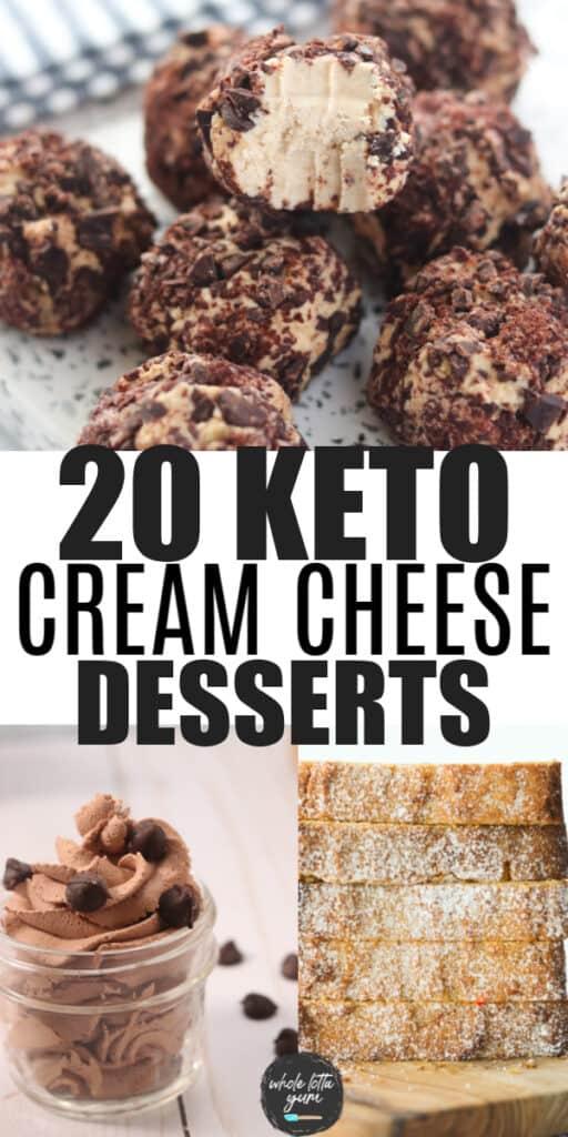 keto cream cheese dessert pin for Pinterest