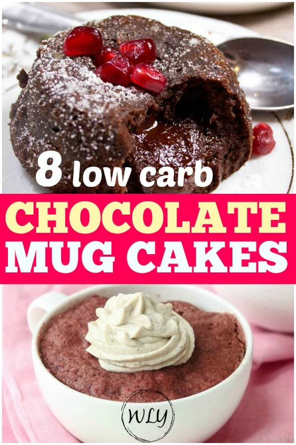 low carb chocolate mug pin for Pinterest cake recipes