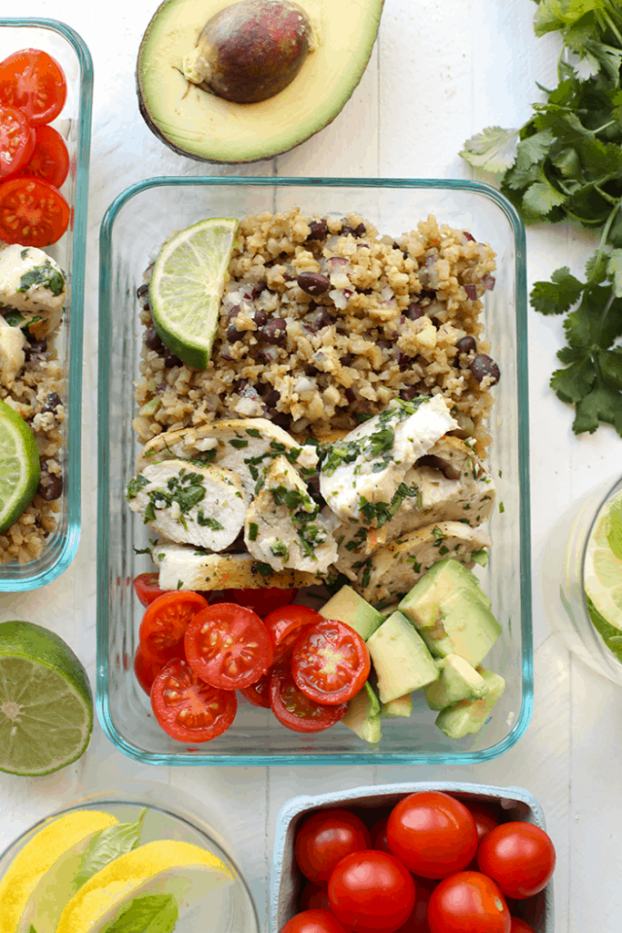 low carb cilantro lime cauliflower rice bowls
