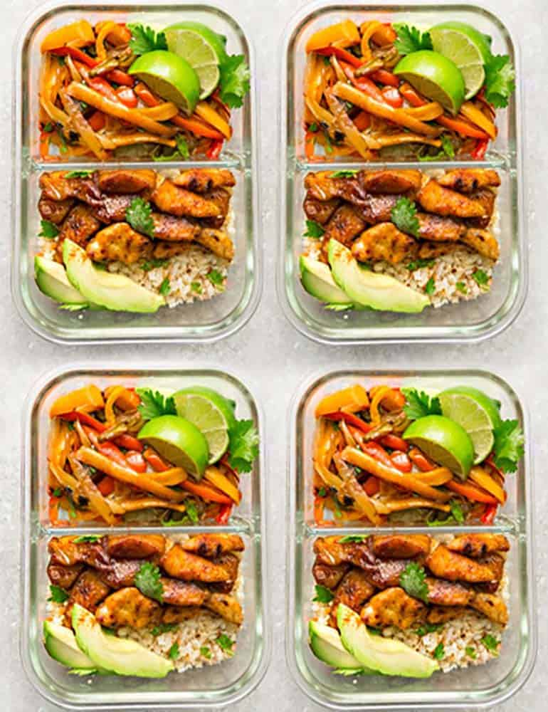 low carb chicken fajitas meal prep recipe