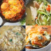 a photo collage of four keto recipes with chicken breast