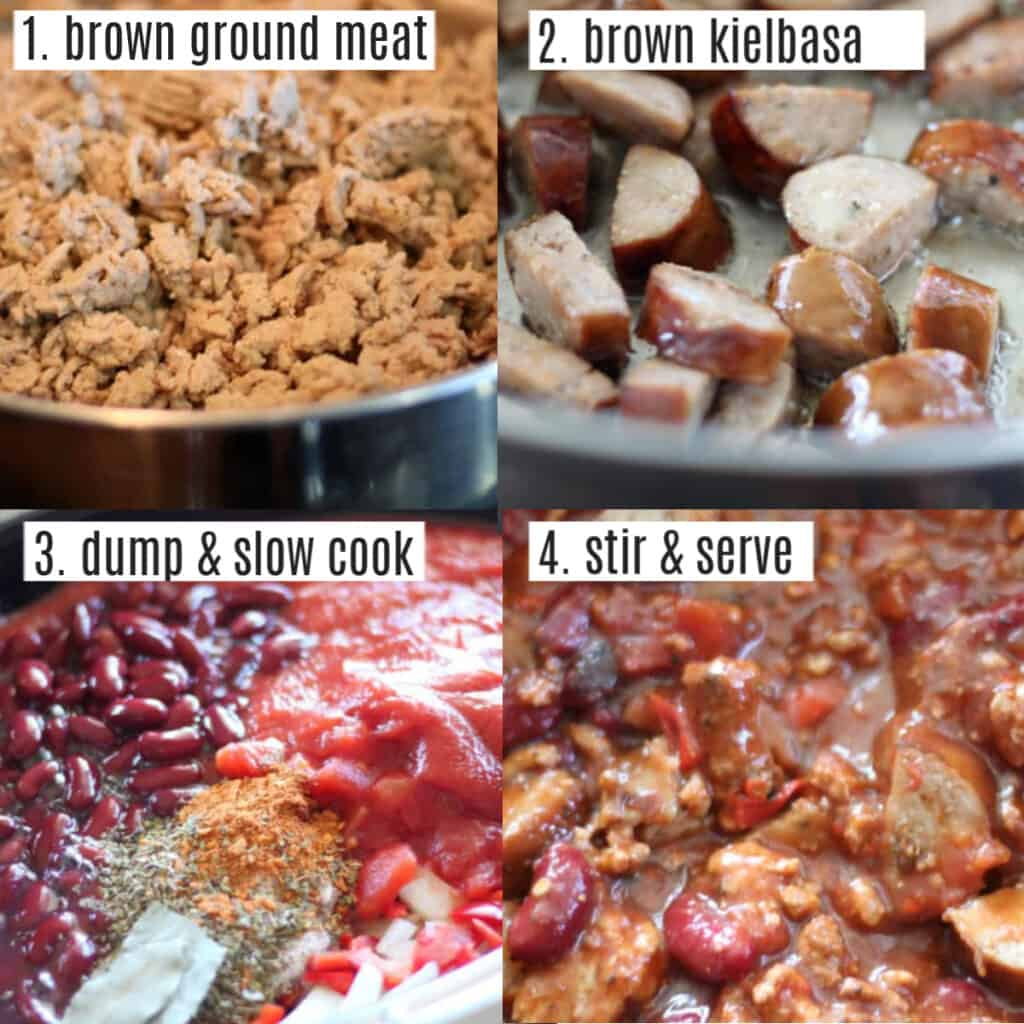 kielbasa sausage chili recipe steps in a collage, brown the meat, dump into crockpot, stir, and serve