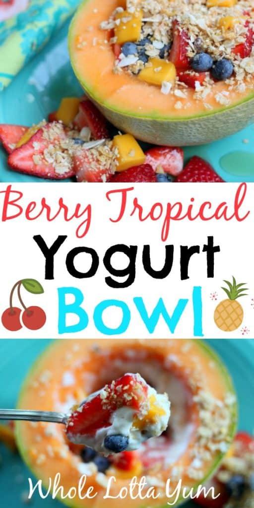A berry tropical healthy yogurt breakfast bowl recipe