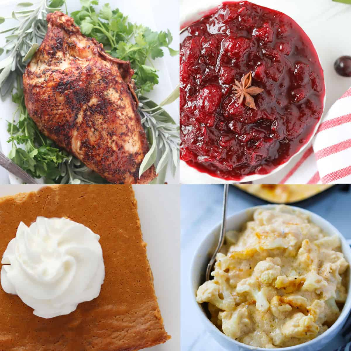 keto thanksgiving dinner recipes collage