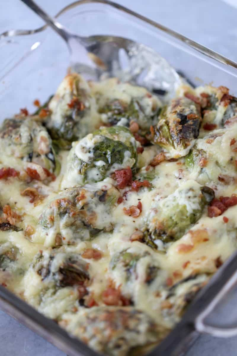 keto brussel sprouts au gratin with bacon ready to serve after cooking