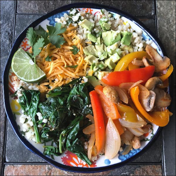 low carb vegetarian burrito bowl