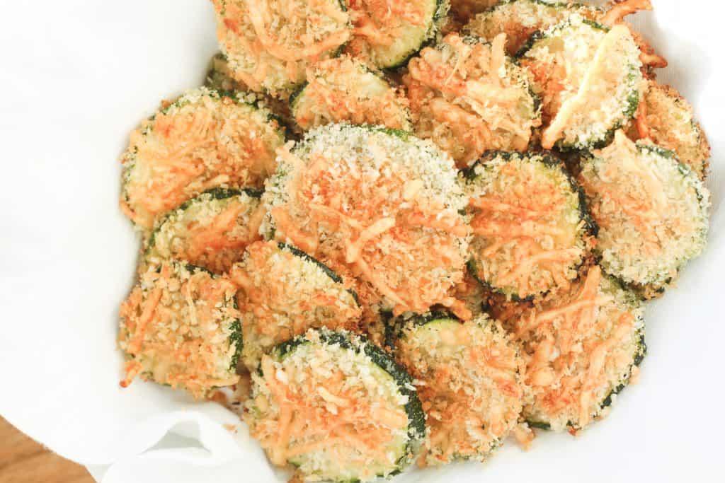 Keto zucchini parmesan chips