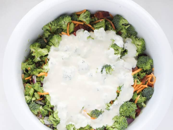 add dressing to low carb broccoli salad