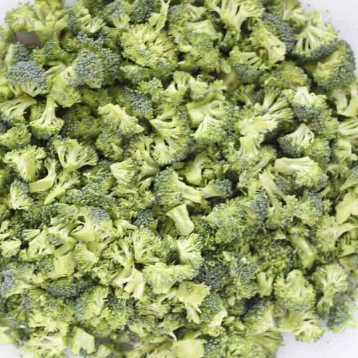 chopped broccoli heads for the broccoli salad low carb recipe