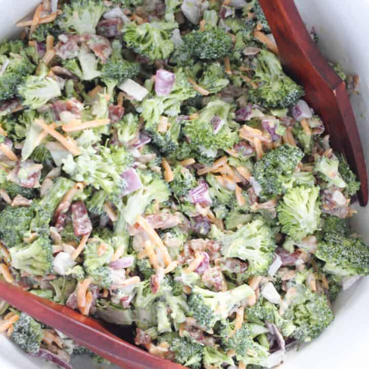 keto broccoli salad closeup image in a bowl