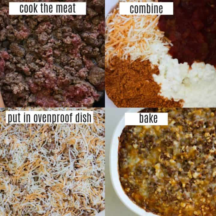 low carb Mexican beef casserole recipe steps collage