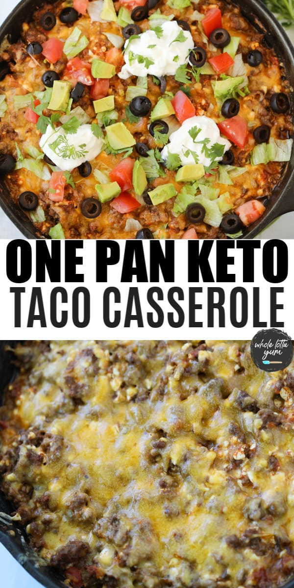 taco casserole low carb pin for Pinterest