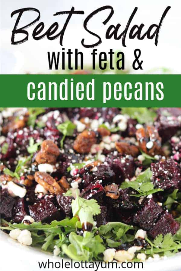 A healthy roasted beets salad with feta and glazed pecans that's also low carb and gluten free and perfect as a holiday salad. A no sugar option listed for the glazed pecans.