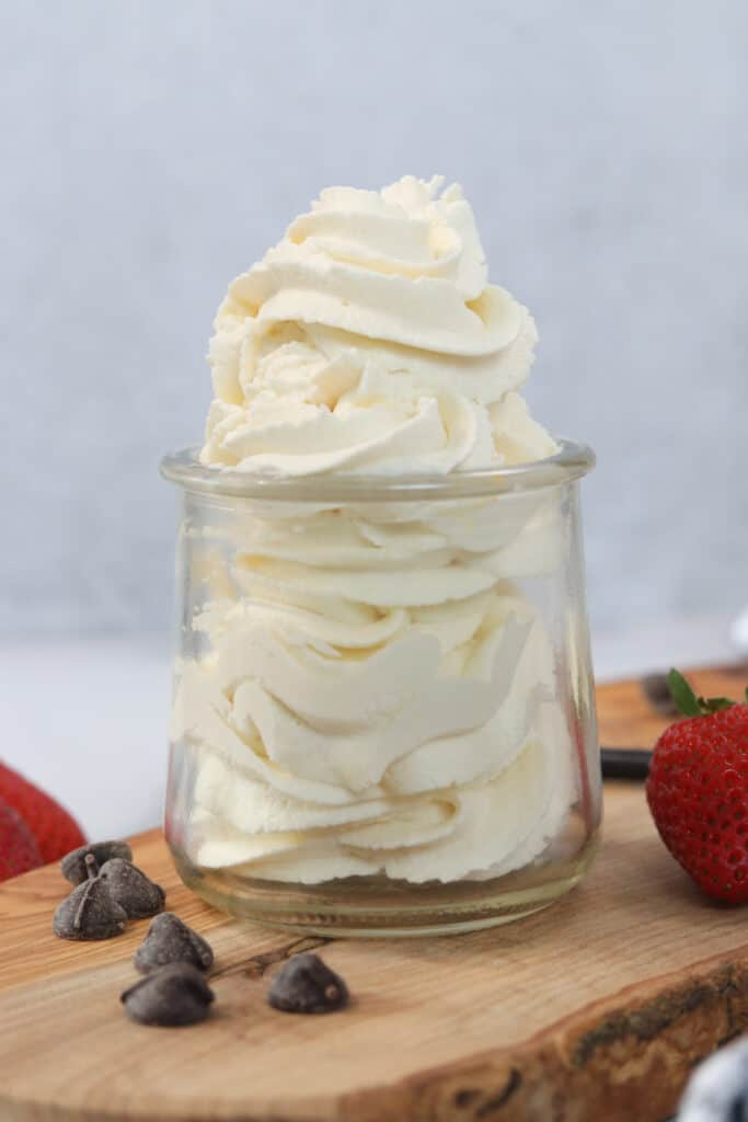 keto whipped cream piled up in a clear jar