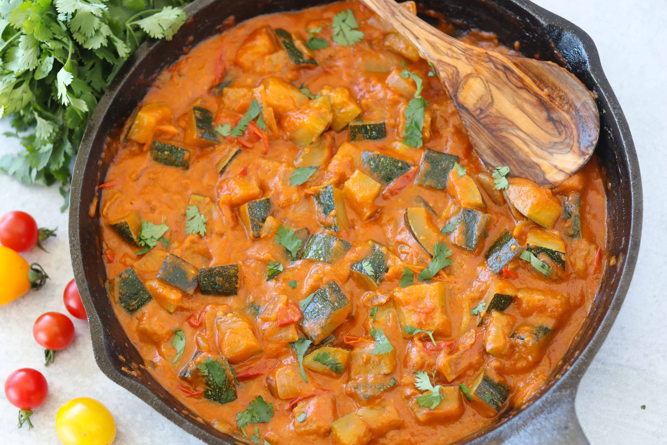thai zucchini curry in a pan