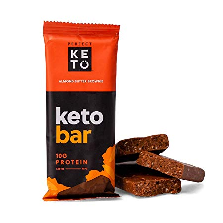 Perfect Keto Chocolate Bar, Keto Snack (12 Count), No Added Sugar. 10g of Protein, Coconut Oil, and Collagen, with a Touch of Sea Salt and Stevia. (12 Bars, Almond Butter)