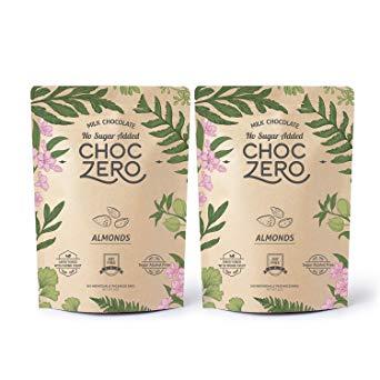 ChocZero's Keto Chocolate Bark, Milk Chocolate Almonds, No Added Sugar, Low Carb, No Sugar Alcohols, Non-GMO (2 bags, 6 servings each)