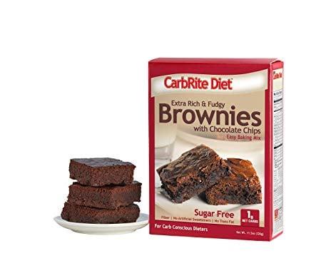 CarbRite Diet - Sugar Free - 1g Net Carb - Keto and Lazy Keto Friendly Dessert - Great Tasting - Easy to Make Snack - Keto Chocolate Chip Brownie Mix, 11.5 oz