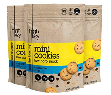 HighKey Snacks Keto Mini Cookies; Keto Chocolate Chip, Pack of 3, 2.25oz Bags – Keto Friendly, Gluten Free, Low Carb, Healthy Snack - Sweet, Diet Friendly Dessert – Ketogenic Food with Natural Ingredients