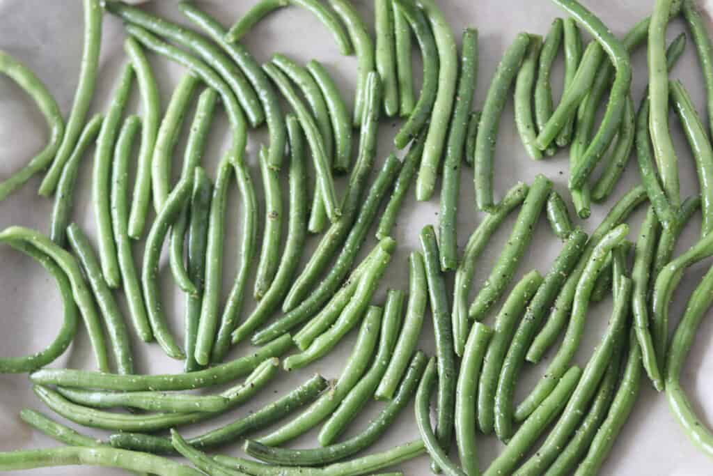 fresh green beans in oven