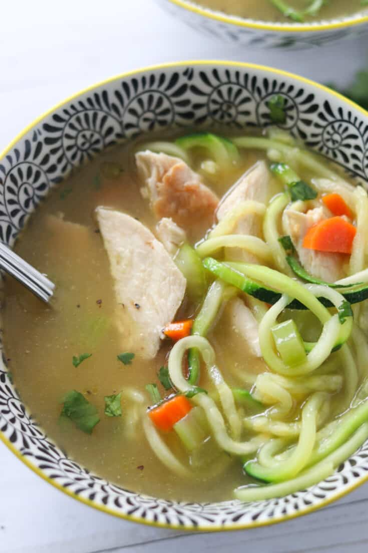 Keto Chicken Noodle Soup with Zoodles