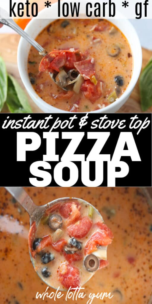 A long pizza soup pin for Pinterest