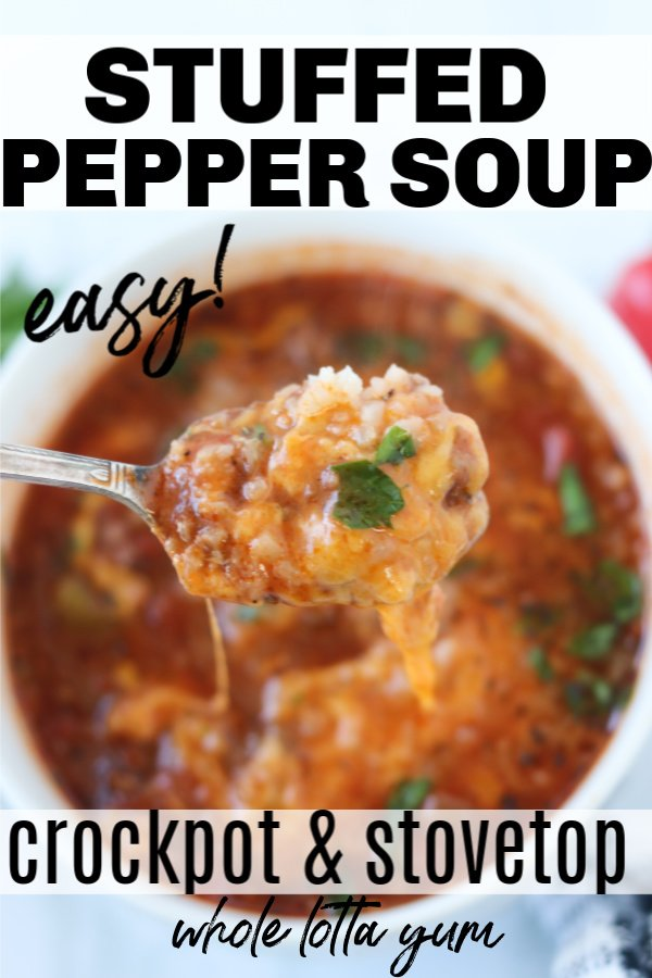 Stuffed pepper soup that's for your pressure cooker or a 1 hr one dish version on the stovetop. Easy to make as a keto stuffed pepper no rice version or traditional with rice, either way you'll love this easy stove and crockpot stuffed pepper soup!