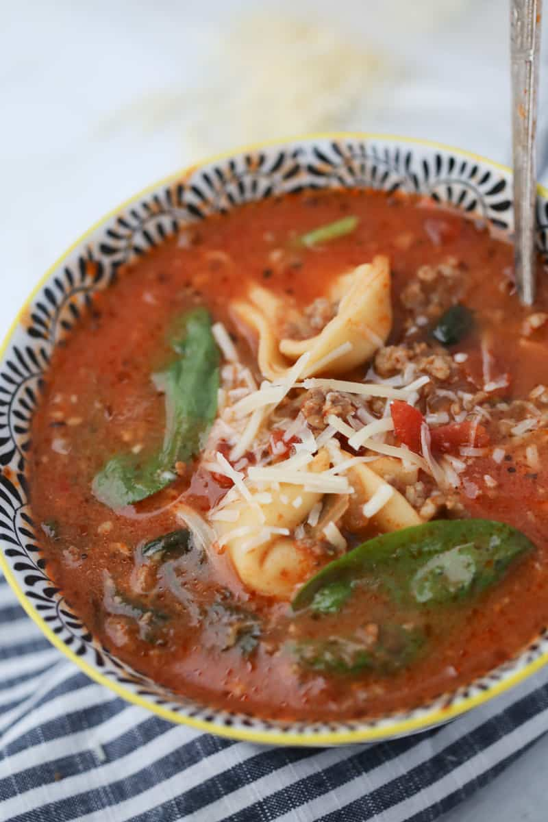 tortellini soup crockpot recipe in a bowl ready to serve