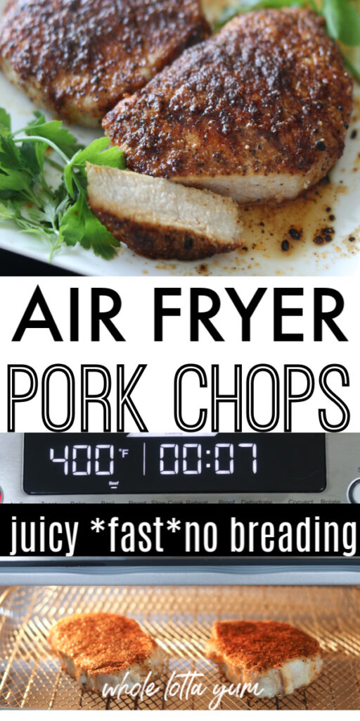 pork chops in air fryer pin for Pinterest