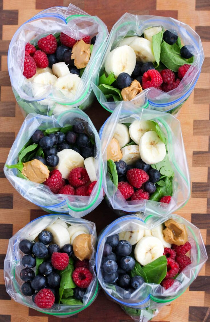 Peanut Butter Green Smoothie Freezer Packs