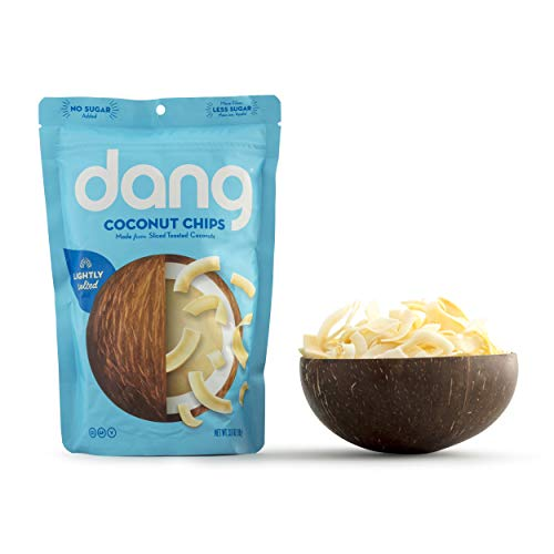 Dang Keto Toasted Coconut Chips | Lightly Salted Unsweetened | 1 Pack | Keto Certified, Vegan, Gluten Free, Paleo Friendly, Non GMO, Healthy Snacks Made with Whole Foods | 3.17 Oz Resealable Bags