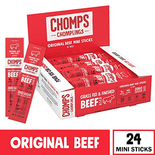 CHOMPS MINI Grass Fed Beef Jerky Meat Snack Sticks, Keto, Paleo, Whole30 Approved, Low Carb, High Protein, Gluten Free, Sugar Free, Non-GMO, 40 Calories 0.5 Oz Stick, Original Beef 24 Pack