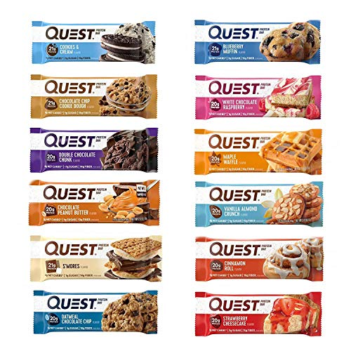 Quest Nutrition Protein Bar Adventure Variety Pack. Low Carb Meal Replacement Bar with 20 gram+ Protein. High Fiber, Gluten-Free (12 Count)