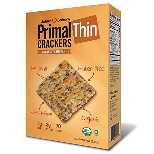 Julian Bakery Primal Thin Crackers (Parmesan)(Organic)(Low Carb, Gluten-Free, Grain-Free) (8.4oz)