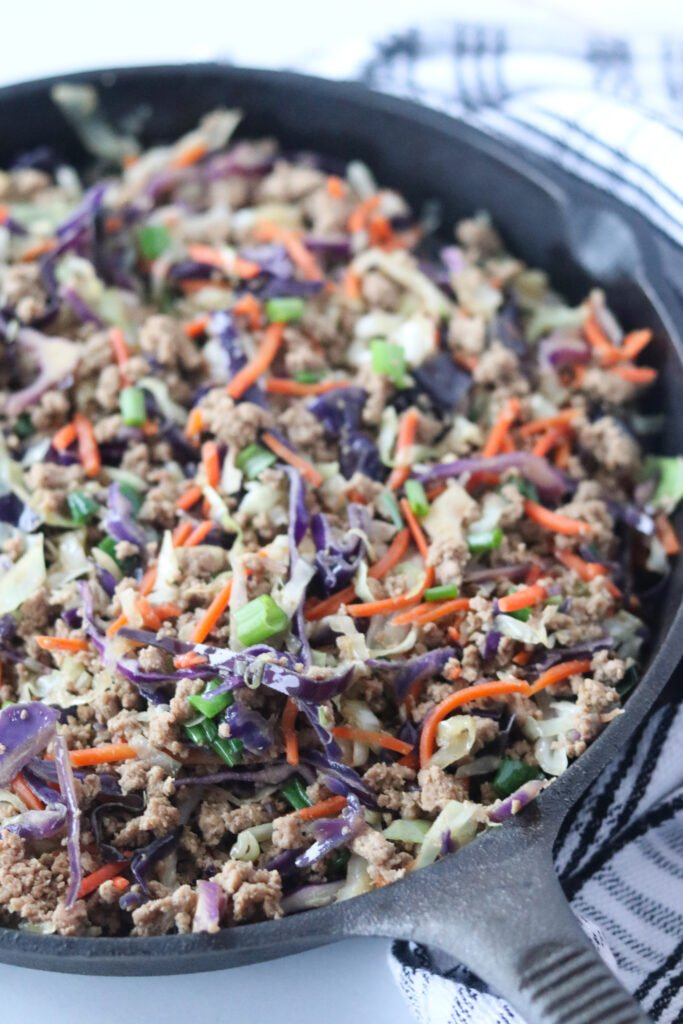the crack slaw keto recipe in a cast iron skillet after cooking