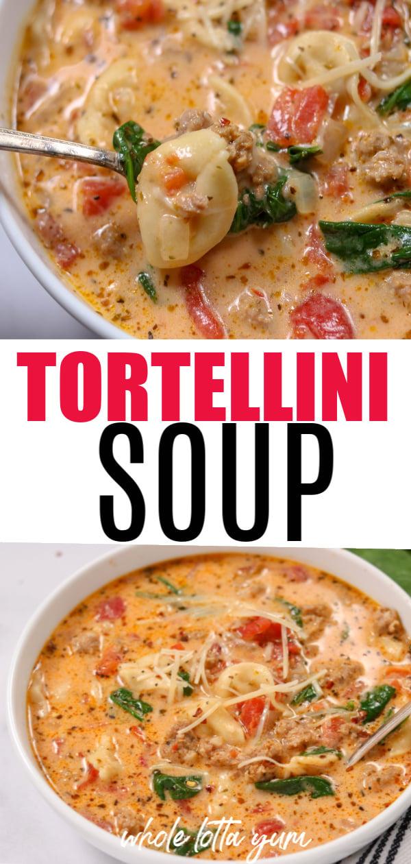 instant pot tortellini soup recipe Pinterest pin