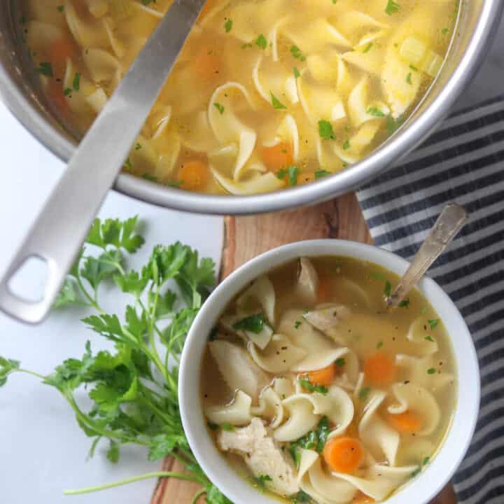 Simple Pressure Cooker Chicken Noodle Soup (Ina Garten Recipe)