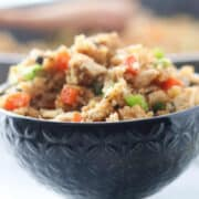fried riced cauliflower piled up in a bowl