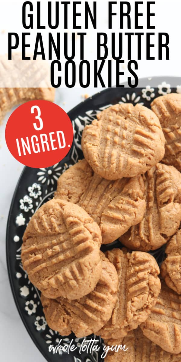 gluten free peanut butter cookie recipe pin for Pinterest