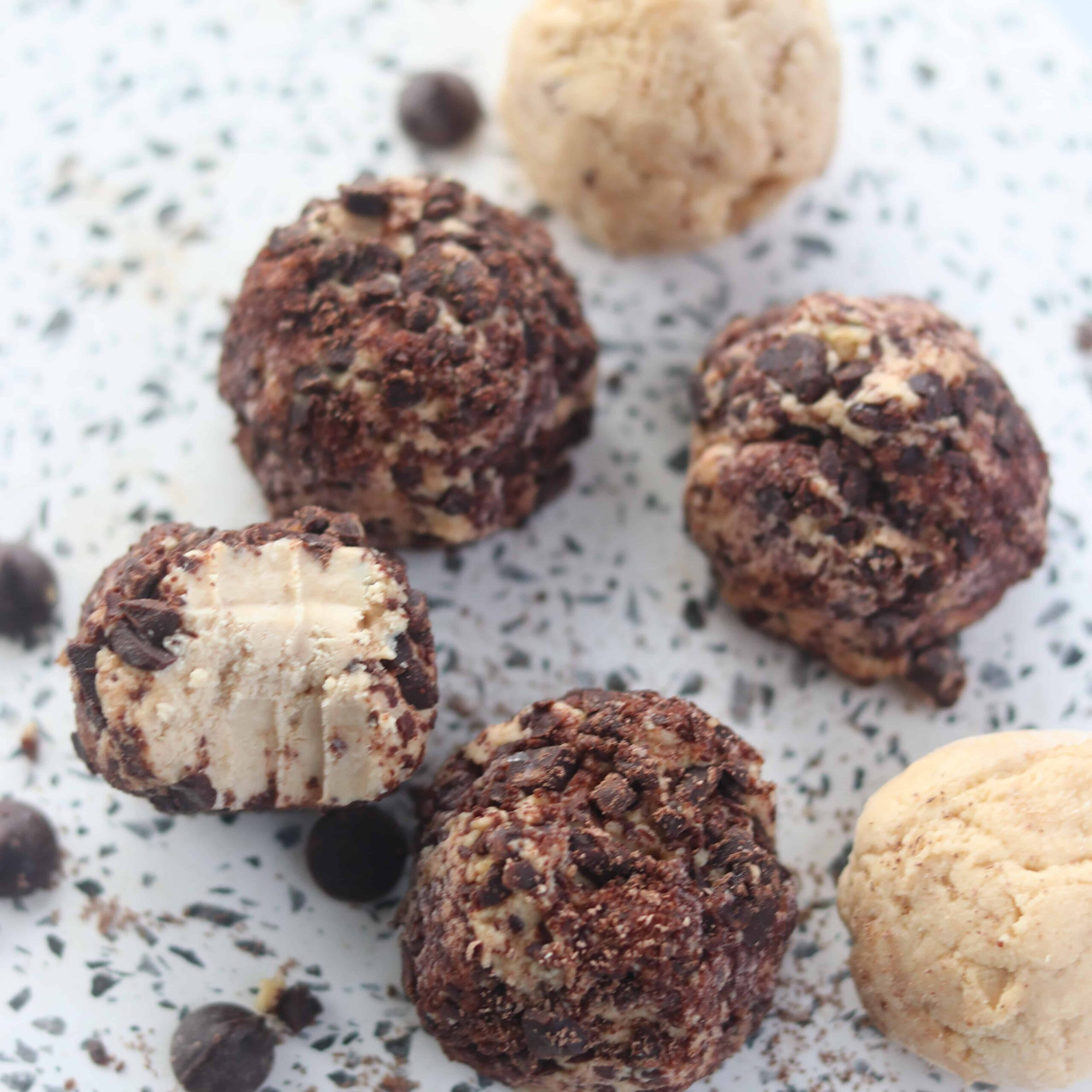 cream cheese keto dessert with peanut butter and chocolate that are no bake balls