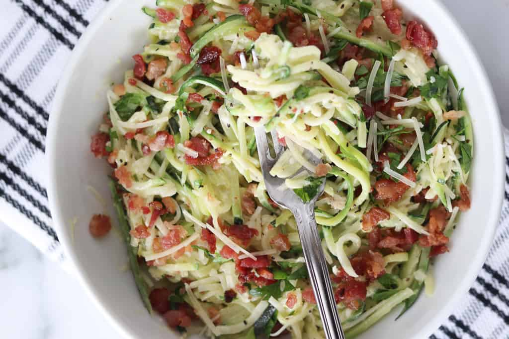 keto carbonara with zucchini noodles in a bowl