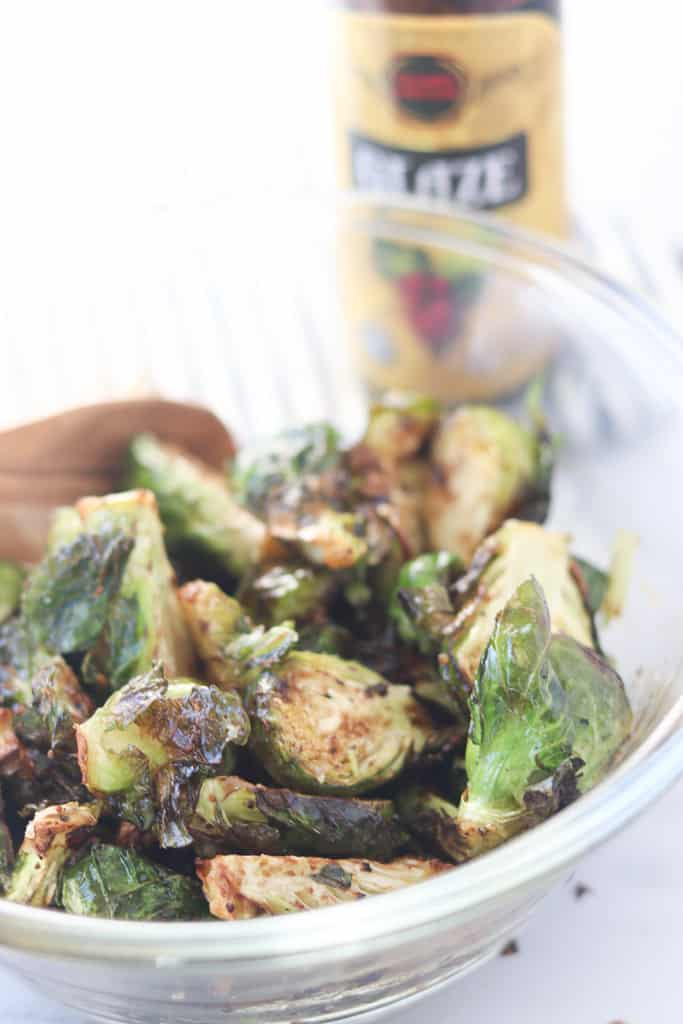 air fryer brussel sprouts with balsamic glaze