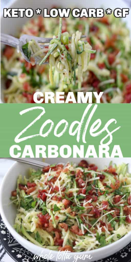 creamy zoodles carbonara pin for Pinterest