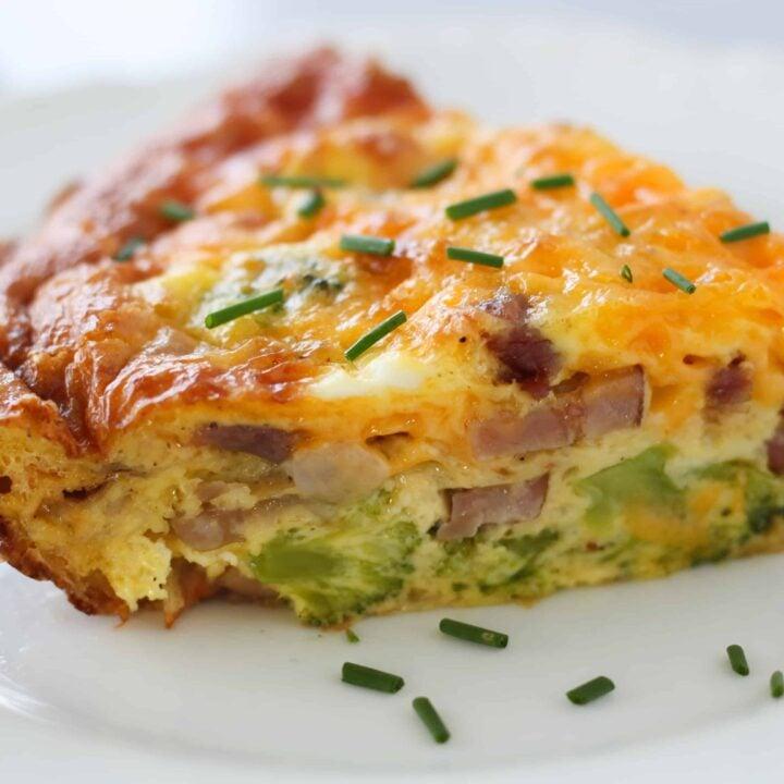 Broccoli & Ham Keto Quiche Recipe (Crustless)