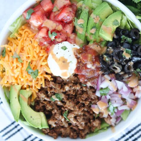 keto taco salad in a bowl