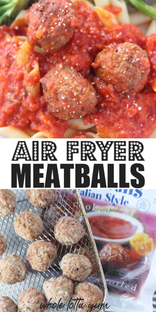 meatballs in air fryer pin for Pinterest