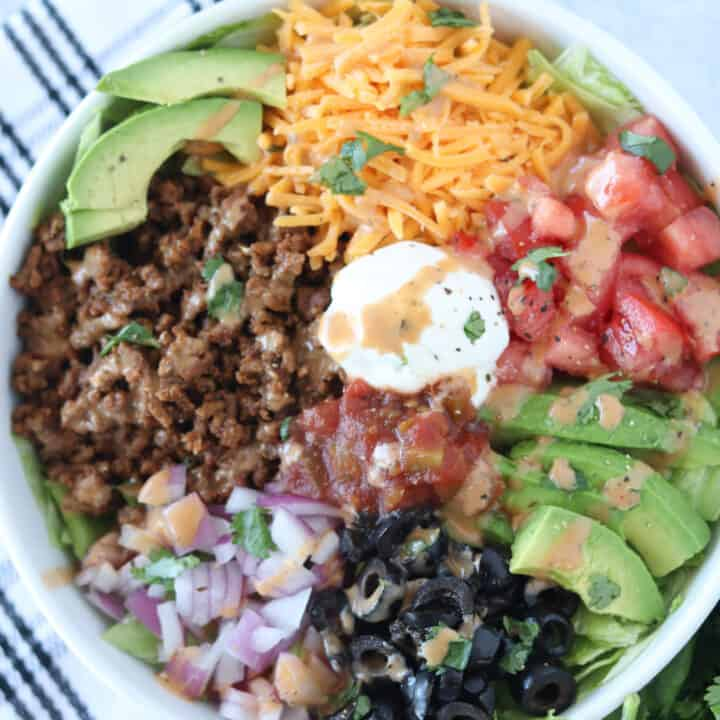 Easy Beef or Chicken Taco Salad (Keto, Low Carb, GF)