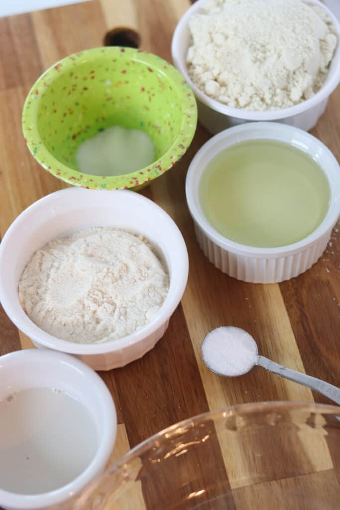 low carb pie crust ingredients measured out on a cutting board